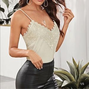 Suede lace trim tank top